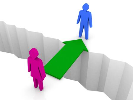 reconciliation: Bridge from woman to man through separation crack. Concept 3D illustration.