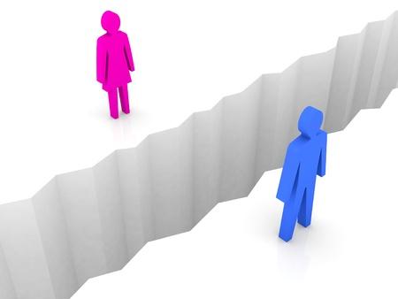 separation: Man and woman split on sides, separation crack. Concept 3D illustration.