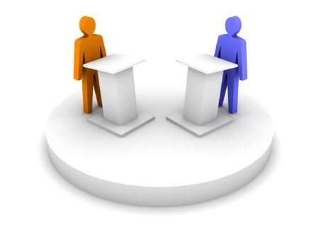 public opinion: Debate. Speaking from a tribune, confrontation.