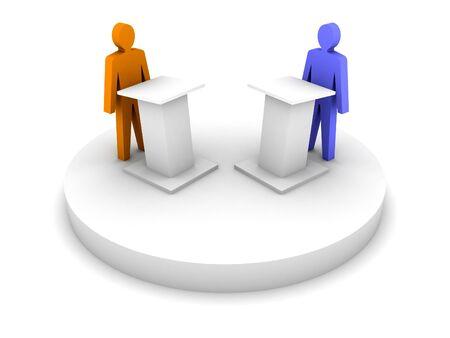 two men talking: Debate. Speaking from a tribune, confrontation.