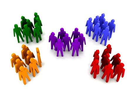 Verschillende groepen mensen. Concept 3D illustratie Stockfoto