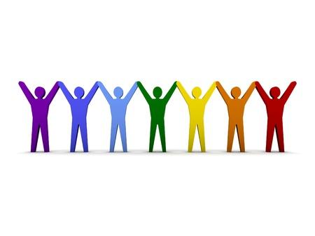 Gruppe verschiedene Leute Erfolg. Konzept 3D-Darstellung