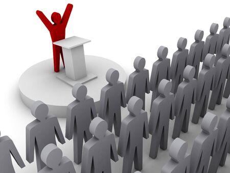 Leader speaking to crowd. Concept 3D illustration. illustration