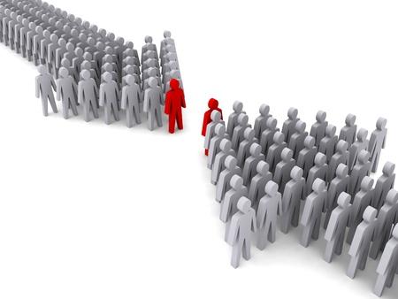 Zwei Arbeitsgruppen mit den Führern. Konzept 3D-Darstellung.