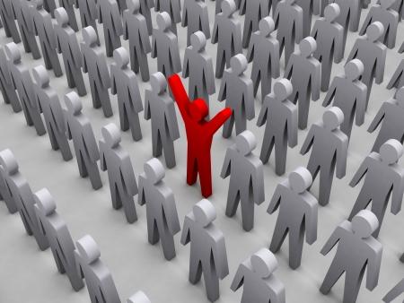 dissident: Unique person in crowd. Concept 3D illustration Stock Photo