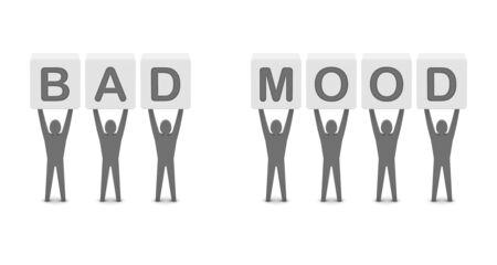 Men holding the words bad mood . Concept 3D illustration. Stock Illustration - 19917281