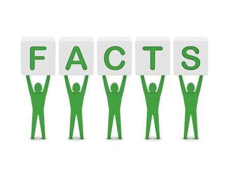 gazette: Men holding the word facts. Concept 3D illustration.