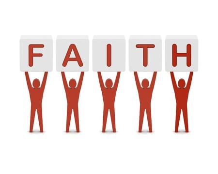 god box: Men holding the word faith. Concept 3D illustration.