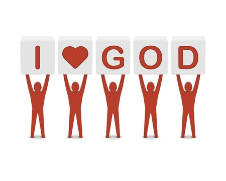 god box: Men holding the phrase i love god. Concept 3D illustration.