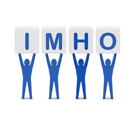 humble: Men holding the word imho. Concept 3D illustration. Stock Photo
