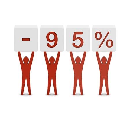 Men holding minus 95 percent. Concept 3D illustration.