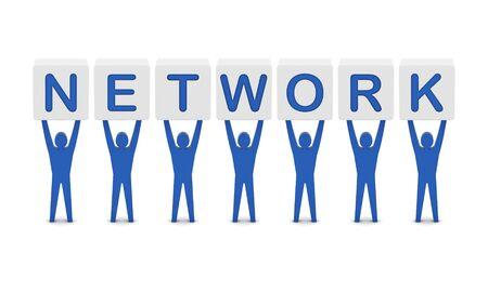 Men holding the word network. Concept 3D illustration. illustration