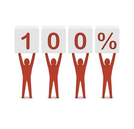 Men holding 100 percent. Concept 3D illustration. illustration