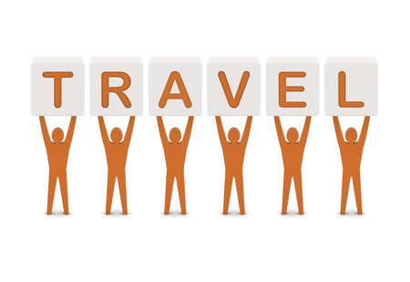 Men holding the word travel. Concept 3D illustration. illustration