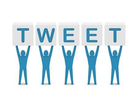 tweet: Men holding the word tweet. Concept 3D illustration.