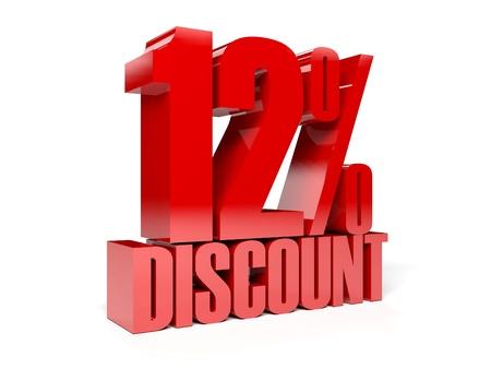 12 percent discount. Red shiny text. Concept 3D illustration.