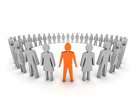 Unique. Group of People. Concept 3D illustration Stock Illustration - 20175929