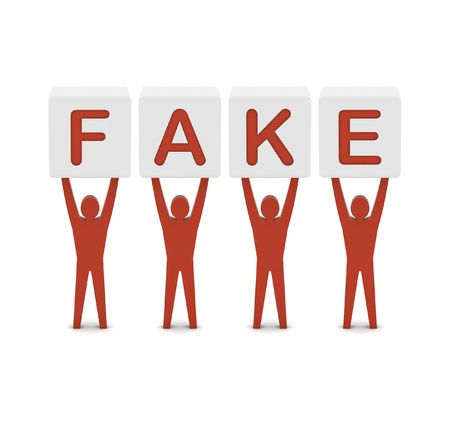 counterfeit: Men holding the word fake. Concept 3D illustration.