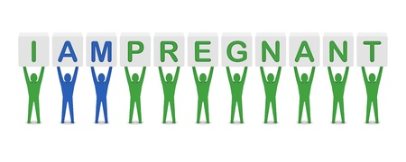 Men holding the phrase i am pregnant. Concept 3D illustration. Stock Illustration - 20175944
