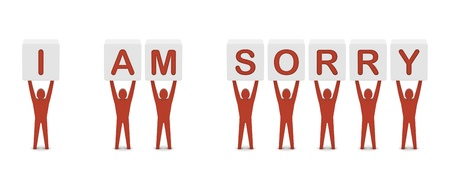 i am sorry: Men holding the phrase i am sorry. Concept 3D illustration. Stock Photo