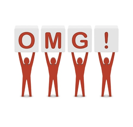 disbelief: Men holding the word OMG. Concept 3D illustration.