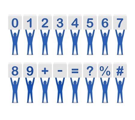 Set of numbers and symbols. Concept 3D illustration. illustration