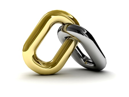 Chain link isolated on white background. Concept 3D illustration. illustration