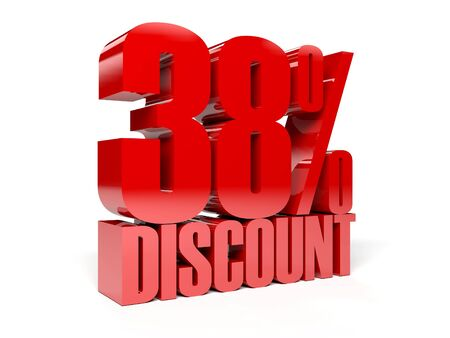 38: 38 percent discount. Red shiny text. Concept 3D illustration. Stock Photo