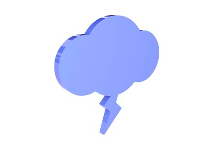 Lighting cloud icon over white background. Concept 3D illustration. illustration