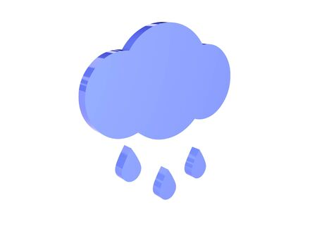 Rainy cloud icon over white background. Concept 3D illustration. illustration