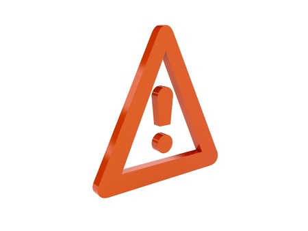Warning icon over white background. Concept 3D illustration. illustration