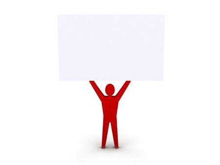 Man holding a white board. Concept 3D illustration.