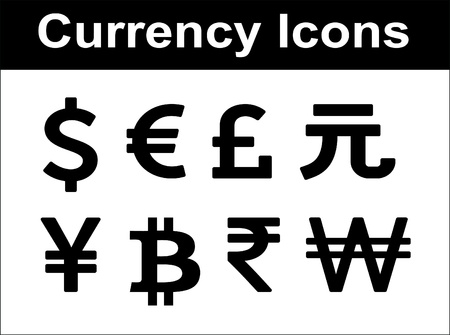 currency: Currency icons set  Black over white background