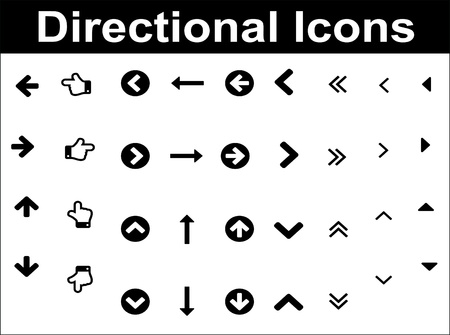 Directional icons set  Black over white background
