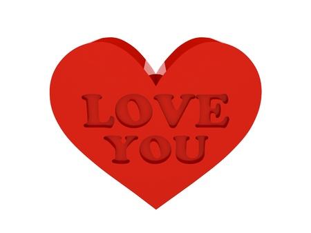 Big red heart. Phrase LOVE YOU cutout inside. Concept 3D illustration. illustration