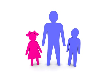 single parent: Man with children. Single-parent family. Concept 3D illustration.