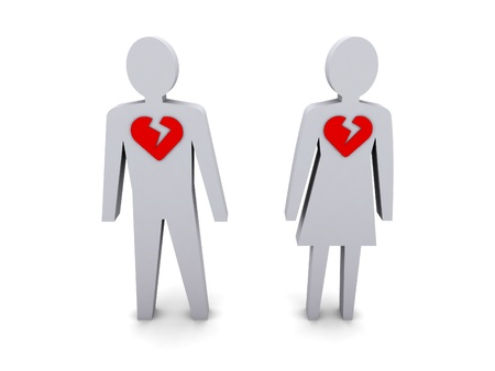 Man and woman with broken hearts. Concept 3D illustration. illustration