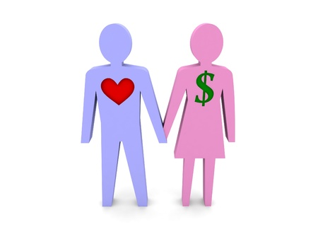 Couple. Woman with dollar sign instead of the heart. Concept 3D illustration. Stock Photo