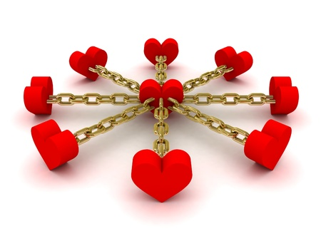 chained link: Eight hearts linked to one heart in center. Concept 3D illustration. Stock Photo