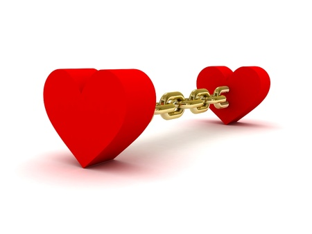 linked: Two hearts linked by golden chain. Concept 3D illustration.