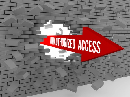 unauthorized: Arrow with words Unauthorized Access breaking brick wall. Concept 3D illustration. Stock Photo