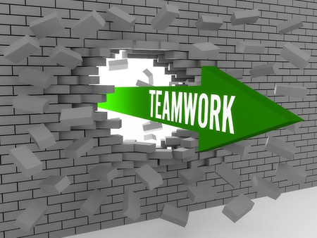 Arrow with word Teamwork breaking brick wall. Concept 3D illustration. illustration