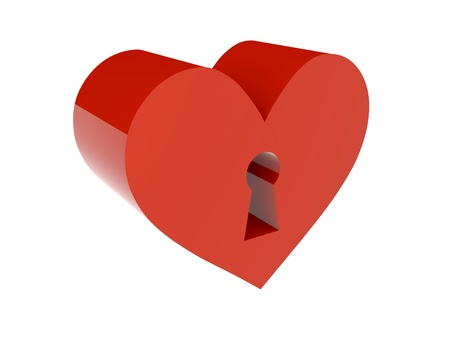 Big red heart with keyhole. Concept 3D illustration. illustration