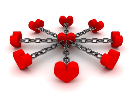 polygamy: Eight hearts linked by black chain to one heart in center. Concept 3D illustration.