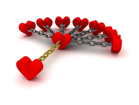 cheater: Seven hearts linked with one heart.  Dependence on past relations. Concept 3D illustration. Stock Photo