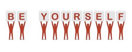 confianza: Hombres que sostienen la frase de ser t� mismo. Ilustraci�n del concepto 3D. Foto de archivo
