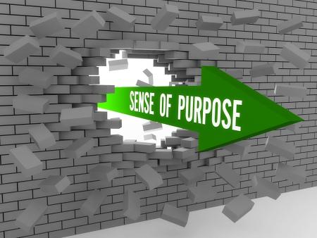 Arrow with words Sense of Purpose breaking brick wall. Concept 3D illustration. 免版税图像