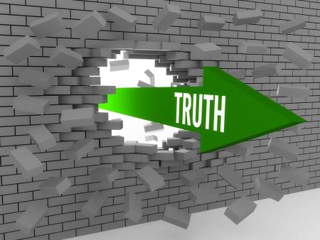 Pijl met woord Waarheid breken bakstenen muur. Concept 3D illustratie.