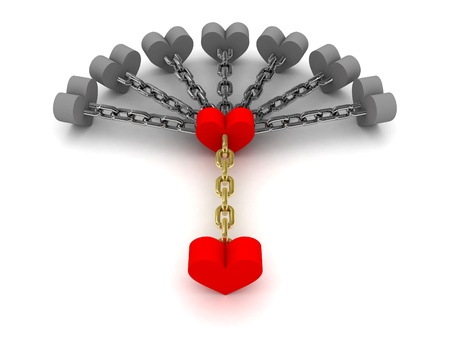 shackled: Seven gray hearts holding one red heart. Dependence on bad relations. Concept 3D illustration.