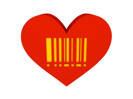 Big red heart with barcode symbol. Concept 3D illustration. illustration